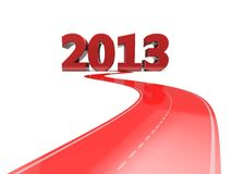 Successful road. Red road with number 2013, new year concept Royalty Free Stock Photo