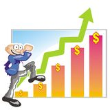 Successful sales - Earnings evolution. Business graphics growing every month. Successful business. Celebrating business success Stock Illustration