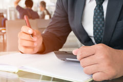 Successful salesman closed accountant working with financial dat Royalty Free Stock Photo