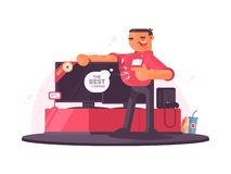 Successful salesman in electrical shop. Sells plasma TV. illustration stock illustration