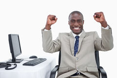Successful salesman with the fists up Royalty Free Stock Photos