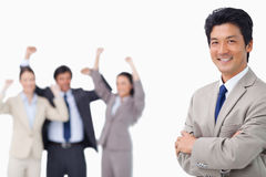 Successful salesman getting celebrated by colleagues Royalty Free Stock Photos