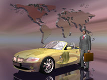 Successful salesman with his car. stock illustration