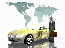 Successful salesman with his car, over white. Successful businessman with his  sports car cabriolet in front of a world map, over white. 3D illustration Royalty Free Stock Photos