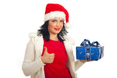 Successful Santa helper woman Royalty Free Stock Photography