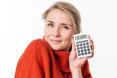 Successful savings for cute female student enjoying economy solutions Royalty Free Stock Image