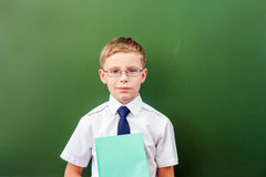 Successful schoolboy standing near the blackboard in school classroom Royalty Free Stock Photography