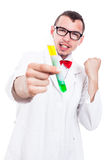 Successful scientist with test tube Royalty Free Stock Images