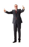 Successful senior business man with thumbs up. Isolated on white background royalty free stock photo