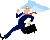 Successful senior businessman. Energetic senior businessman running with a briefcase, EPS 8 vector illustration, no transparencies stock illustration