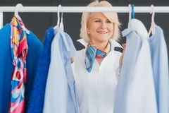 Successful seniority lady fashion style business stock photos
