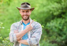Successful sexy farmer. Eco farm worker. Harvest. happy earth day. Eco living. farming and agriculture cultivation. Gardening ranch. muscular ranch man in stock images