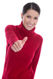 Successful smiling and isolated young woman in red pullover. Stock Photos