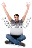 Successful smiling man with laptop. Young man with his laptop and computer applications vector illustration