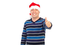 Successful  smiling man in Santa hat Royalty Free Stock Photography