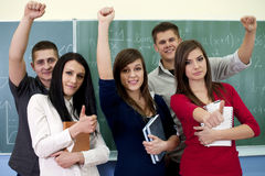 Successful smiling students stock photography