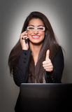 Successful Smiling Young  Businesswoman wearing white glasses, t Stock Image