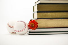 Successful sports and education, two baseballs and books Stock Photography