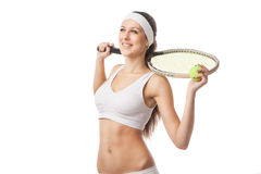 Successful sportswoman with racket Isolated Stock Images