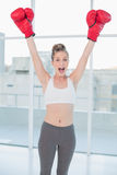 Successful sporty blonde wearing red boxing gloves cheering Royalty Free Stock Images