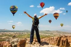 Successful woman and hot air balloon Concept motivation, inspiration royalty free stock photography