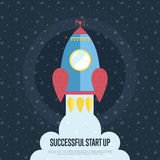 Successful Start Up Cartoon Web Banner. Successful start up cartoon banner. Spaceship takes off from planet surface in starry outer space vector illustration Stock Image