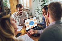 Successful start-up team in training. Business team working on marketing strategy. Brainstorming meeting concept royalty free stock photo