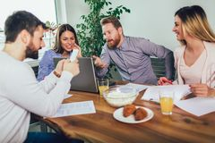 Successful start-up team in training. Business team working on marketing strategy. Brainstorming meeting concept royalty free stock photography