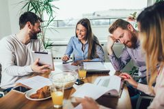 Successful start-up team in training. Business team working on marketing strategy. Brainstorming meeting concept stock image