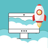 Successful startup business concept. Flat  illustration with rocket launch. Eps10 Stock Photos