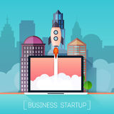 Successful startup business concept. Rocketship on computer for. Startup media Stock Images