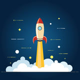 Successful startup business concept. Vector illustration with rocket launch and laptop on the background. Flat vector illustration. Concept illustration of Royalty Free Stock Image