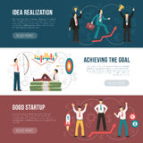 Successful Startup Flat Horizontal Banners Set. Successful startup tips 3 flat horizontal banners webpage design with goal achieving strategy symbols isolated Royalty Free Stock Photography