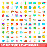 100 successful startup icons set, cartoon style Royalty Free Stock Photo