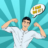Successful Strong Man in Pop Art Style with Expression I Can Do It Royalty Free Stock Images