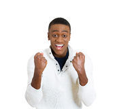 Successful student, business man winning, fists pumped Royalty Free Stock Photo