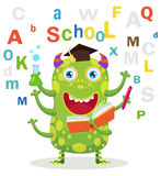 Successful Student. Funny Education Monster In White Background. Cartoon Vector Illustrations. Back To School Theme. Colored Letters Vector. Cartoon Monster Royalty Free Stock Photography
