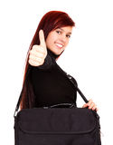 Successful student girl with big bag Royalty Free Stock Photography