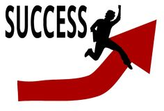 Successful Student with an Red Up Arrow vector illustration