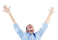Successful student on white. Success student with arms outstretched Stock Photos