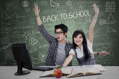 Successful students winning in class Stock Images