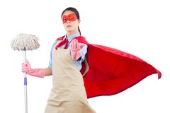 Successful superhero ask for challenge. Successful superhero pointing at camera ask for challenge with housewife holding mop. isolated on white background Stock Photo
