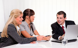 A successful team at. Successful young team at a meeting in the office Royalty Free Stock Image