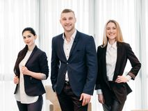 Business sharks smiling leading team professionals. Successful team. business sharks concept. smiling happy young leading professionals Royalty Free Stock Photo