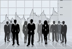 Successful team. Business silhouettes team successful, global economy stats Royalty Free Stock Photography