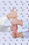 Successful team concept. Hands showing thumb up. Successful team concept Royalty Free Stock Photography
