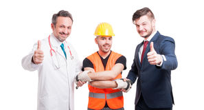Successful team with doctor, builder and lawyer Royalty Free Stock Images