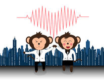 Successful team of doctor monkey giveing high five and laughing Royalty Free Stock Photo