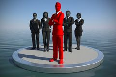 Executive Leading a team on an ocean at noon as 3d rendering. A successful team of executives led by a great leader on an ocean at noon Royalty Free Stock Image