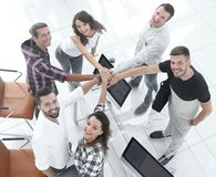 Successful team with hands clasped togethe royalty free stock photo